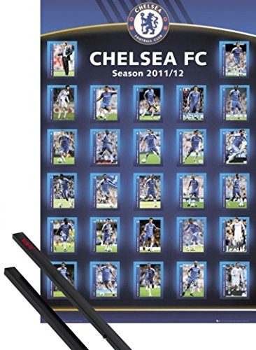 1art1 Poster + Hanger: Football Poster (36x24 inches) Chelsea FC, Squad Profiles 11/12 and 1 Set of Black Poster Hangers - Frank Lampard Chelsea Fc