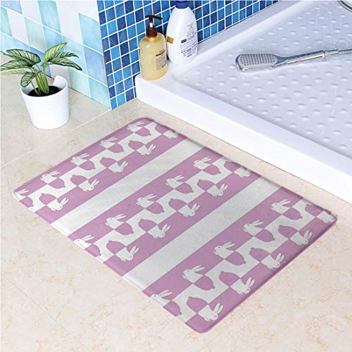 (Indoor Doormat Cute Bunny Rabbits in Vivid Pastel Tones Animal Baby Kids Girls Childish Design Decorative Absorbs Water Latex Backing Non Slip Door Mat for Small Front Door Inside Mat Entrance Rug Ma)