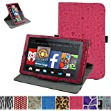 """Fire HD 10 2015 Rotating Case,Mama Mouth 360 Degree Rotary Stand With Cute Lovely Pattern Cover For 10.1"""" Amazon Fire HD 10 Tablet 5th Generation 2015 release,Rose Red"""