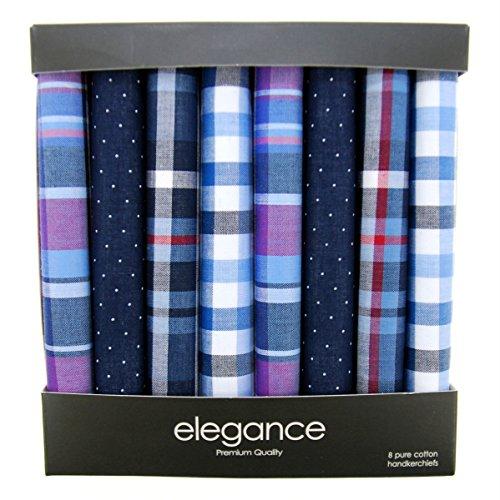 Handkerchief Box - Retreez 8 Piece Pure Cotton Assorted Men's Handkerchiefs Hanky Gift Box Set - Assorted Set A5A004