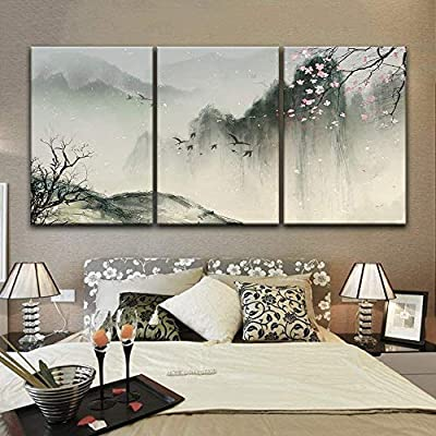 3 Panel Chinese Ink Painting Style Landscape with Mountains and Cherry Blossom in Spring x 3 Panels