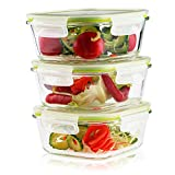 Living Express 6 Pieces Glass Food Storage Container Set (3 containers +3 lids)