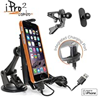 iPro2 Vent Combo MFI Car Dock / Mount for iPhone SE / 5s / 6 / 6+ / 6s / 7 / 6s Plus - w/ 3 mounts (suction cup mount, vent mount , adhesive mini mount), and a integrated 2m Lightning Cable