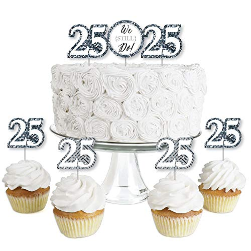 We Still Do - 25th Wedding Anniversary - Dessert Cupcake Toppers - Anniversary Party Clear Treat Picks - Set of 24]()