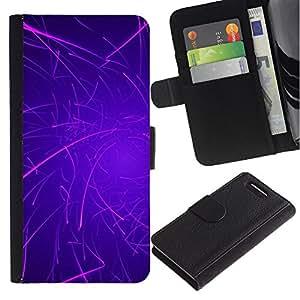 Billetera de Cuero Caso del tirón Titular de la tarjeta Carcasa Funda del zurriago para Sony Xperia Z1 Compact D5503 / Business Style Purple Lines Rave Glow Stick