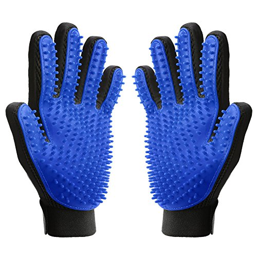 MUDEELA Pet Grooming Glove - Deshedding Gloves for Dogs Cats - Pet Hair Remover Glove for Long & Short Fur (One Pair)