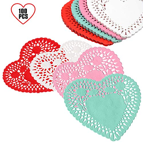 Valentine's day Heart-shaped paper doilies 4 inch/For Valentine Day Decorations/Mother's day Colors Red, Pink, White, and Blue.(100 pcs)