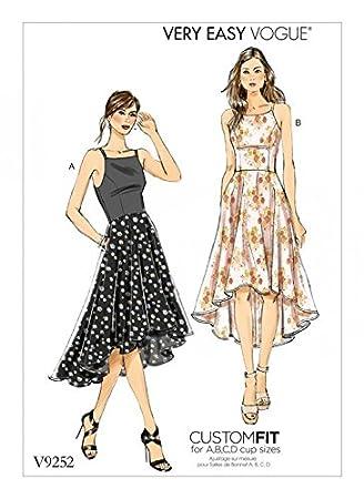 Vogue Damen Easy Schnittmuster 9252 Princess Naht High Low Kleider ...