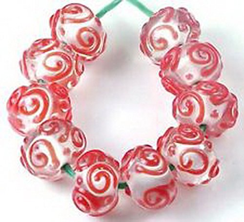 Glamorise Beads #13457 LAMPWORK Handmade Glass Red Raised Scroll Rondelle Beads 10 Pcs
