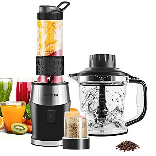 High-Speed Smoothie Blender, Fochea Food Processor Multi-Function Kitchen System (Mixer, Chopper, Grinder) with Portable 570ml BPA-Free Bottle, Easy to Clean