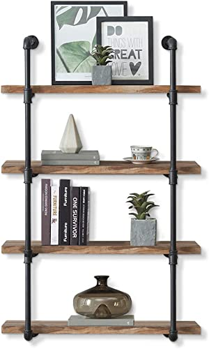 CASANUVA 31.5-Inch Industrial Black Pipe Shelf with Retro Rustic Brown Boards Included, Iron Pipe Bookcases 4 Shelf