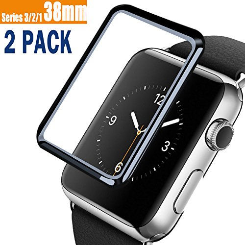2 Pack for Apple Watch 38MM (Series 3/2/1) Tempered Glass Screen Protector, VUV [Full Coverage] 9H Hardness Anti-Scratch, Scratch Resistant [2.5D Curved Edge] with Lifetime Replacements (38 MM)