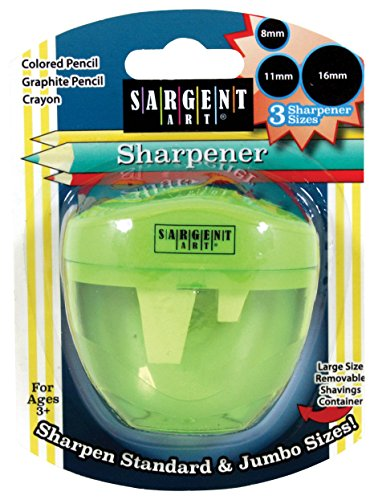 Sargent Art 3 Hole Pencil Sharpener, Jumbo, Green