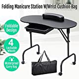 Yaheetech Manicure Table Nail Technician Workstation Art Desk with Drawer + Carry Bag + Wrist Rest(Black)