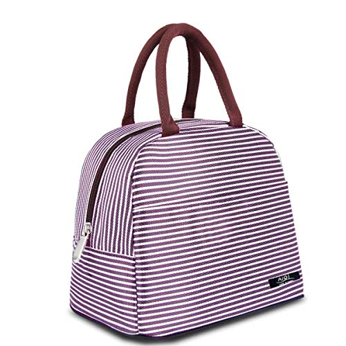 Lunch Bag,Tote Bag Lunch Organizer Lunch Holder box, Insulated Lunch Cooler Bag, Picnic Tote Cooler Travel Organizer for Women/Girls (Purple) (Aluminium Radiation Bottle)