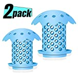 Belletek Tub Drain Hair Catcher for Shower (Bathtub), Sink Drain Hair Catcher/FDA Grade Silicone/Strainer/Snare, Sizes 1.5''and 1.75'',Blue(2 Pack)