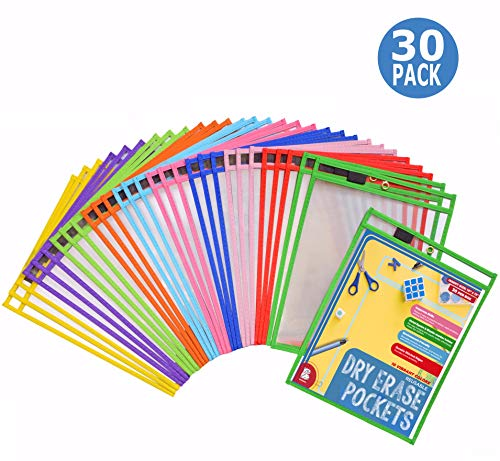 Dry Erase Pockets 30 Pack - Dry Erase Sleeves - Reusable Sheet Protectors - School or Work - Oversized 10