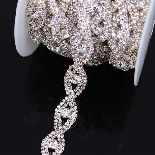 (Daisy Storee 1 Yard Rose Metal Ribbon Trim Chain for Dress, Bag, Accessories Handmade Bridal Wedding Waist Belt Jewelry Crystal Rhinestone)