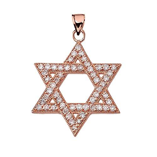 Dazzling Diamond Star of David in 14k Rose Gold Pendant