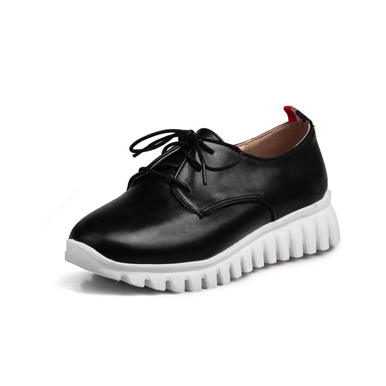 A&N Womens Bandage Platform Closed-Toe Urethane Oxfords Shoes