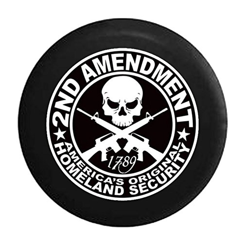 2nd-Amendment-Skull-with-Crossed-Rifles-Americas-Original-Homeland-Security-1789-Spare-Jeep-Wrangler-Camper-SUV-Tire-Cover-33-in