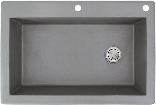 Transolid RTSS3322-17-CE Radius Granite 2-Hole Drop-In Single-Bowl Kitchen Sink, 33 x 22 x 9 , Gray
