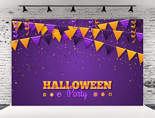 Kate 7x5ft Purple Halloween Party Photography Backdrops Gold Flag Photo Studio Booth Background Seamless Backdrop(with -