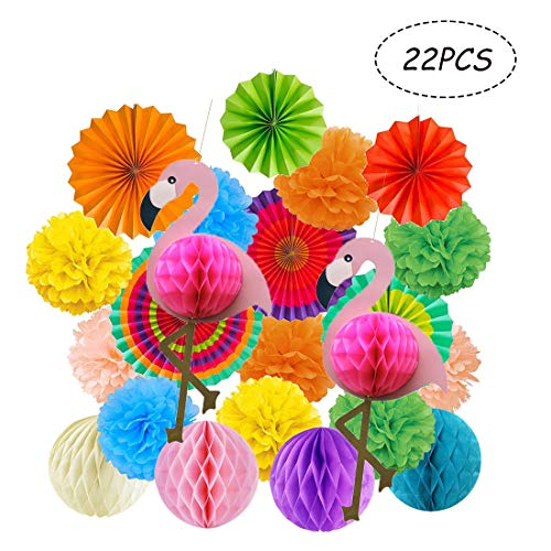 Kalolary Tropical Flamingo Party Honeycomb Decoration, Poms Poms Paper Flower Fan and Honeycomb Balls for Hawaiian Summer Beach Luau Party Birthday Baby Shower Wedding Festival Decorations(Colorful)