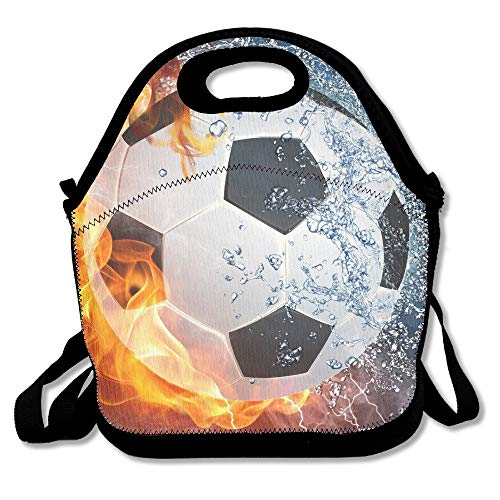 Neoprene Lunch Tote - Football Wallpaper Waterproof Reusable Lunch Tote Bag For Men Women Adults Kids Toddler Nurses With Adjustable Shoulder Strap - Best Travel Bag
