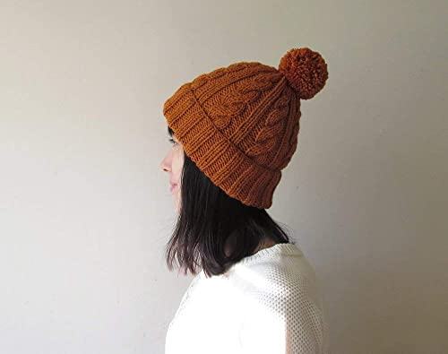 Womens Pom Pom hat Hand Knit Beanie with Folded Brim For Her Made to Order Cable Knit Hat in Cinnamon Winter Accessories Wool Blend