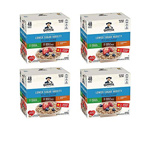 Quaker Instant Oatmeal, Lower Sugar, Variety Pack, Breakfast Cereal, 48 ct - 4 pack
