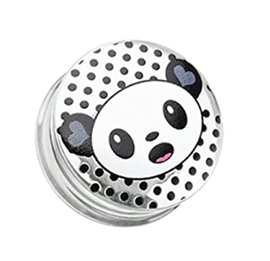 Amazon.com: Adorable Baby Panda Clear UV Double Flared Ear Gauge Freedom Fashion Plug (Sold by Pair) (0 GA): Jewelry