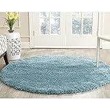 Safavieh SG180-6060-7R Milan Shag Collection Aqua Blue Round Area Rug, 7-Feet in Diameter