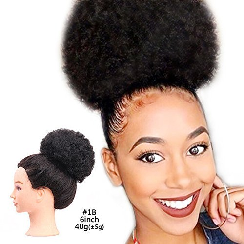(Afro Puff Kinky Curly Synthetic Hair Ponytail Andromeda Short Curly Hair Hairpieces with Elastic Drawstring Clips for African American Women (1b#))