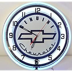 Genuine Chevy 18 Double Neon Lighted Wall Clock Sign white / blue