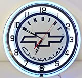 Genuine Chevy 18'' Double Neon Lighted Wall Clock Sign white / blue