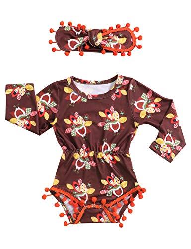 Newborn Baby Girls Clothes Thanksgiving Turkeys Printed Long Sleeve Tassel Romper+Cute Headband Outfit Set (3-6 Months)