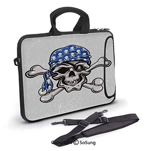 12 inch Laptop Case,Scallywag Pirate Dead Grunge Horror Icon Evil Sailor Crossed Bones Kerchief Neoprene Laptop Shoulder Bag Sleeve Case with Handle and Carrying & External Side Pocket,for Netbook/Mac]()
