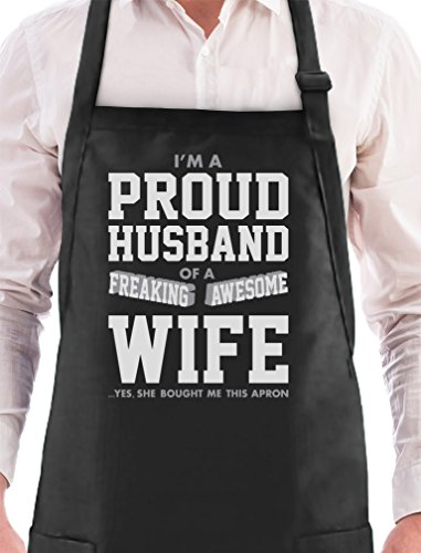 Proud Husband Of A Freaking Awesome Wife Funny Gift for Him BBQ Cooking Apron One Size Black