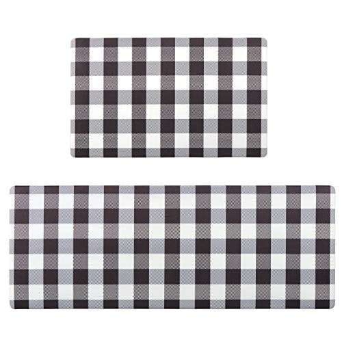 Buffalo Plaid Kitchen Mat Set, KIMODE 2 Piece Anti Fatigue Checkered Kitchen Floor Mat Comfort PVC Leather Standing Cushioned Waterproof Rubber Back Non Slip Kitchen Rugs, 18