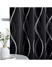 """NICETOWN 2 Panels Blackout Curtains Wave Line Pattern (52"""" Wide)"""