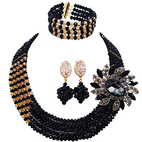 aczuv 5 Rows Nigerian Beads Jewelry Set African Beads Necklace Wedding Party Jewelry Sets (Black Champagne Gold)