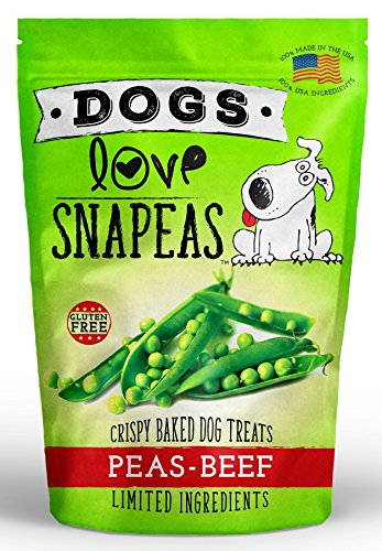 Dogs Love Snapeas Crunchy Dog Treats, Gluten and Wheat Free, Peas and Beef Flavor, 2.5 Ounce Bag