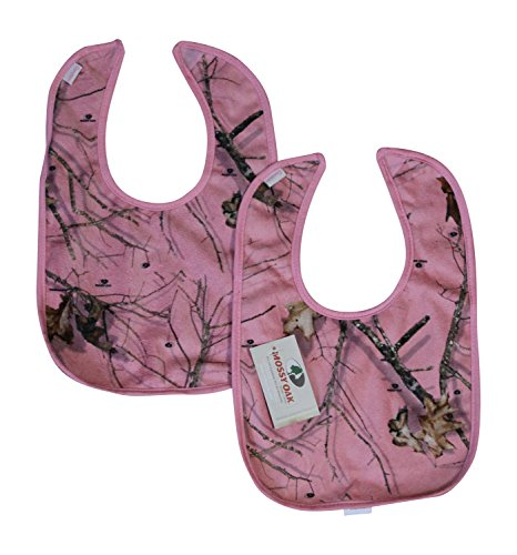 Mossy Oak Pink Camo Baby Bib SET of 2 - One Size Fits Most 3M-2T