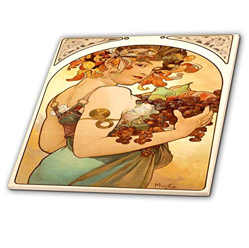 3dRose Florene Art Deco and Nouveau - Painting By Alphonse Mucha Fruit - 6 Inch Ceramic Tile (ct_61840_2)