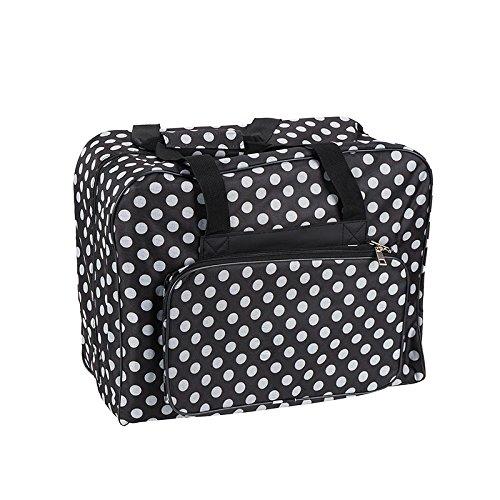 Hemline Dotty Sewing Machine Bag in Black Polka Dot