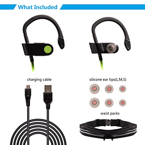 Wireless Headphones with Black Running Belt ,MAYBO SPORTS Sweatproof V4.1 Workout earbuds with Mic and Noise Cancelling-Green