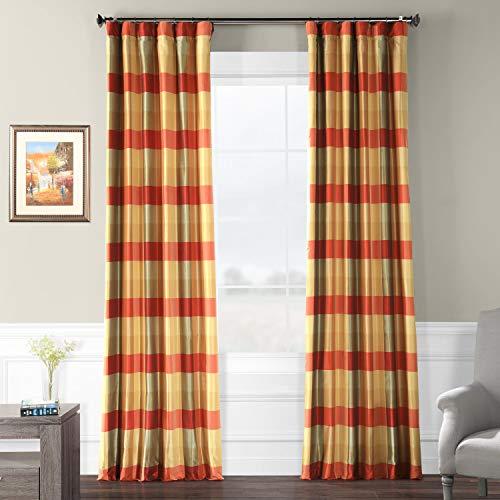 Silk Plaid Drapes (Pts-SLK17-108 Faux Silk Plaid Curtain, 50 x 108, Manor)