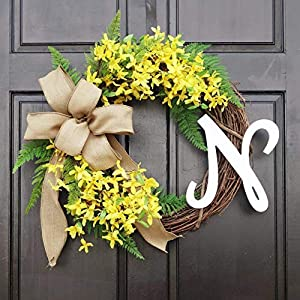 Personalized Spring Summer Yellow Forsythia Wreath with Monogram for Front Door Decor; Initial Letter Choice 110