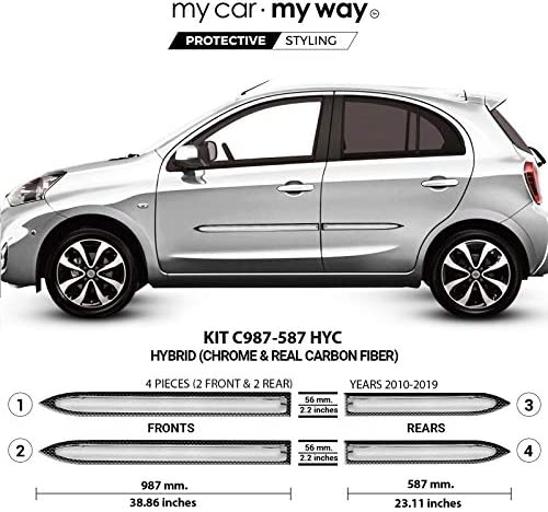 MY CAR MY WAY (Fits) Nissan Micra 5DR 2010-2019 Hybrid Body Side Molding Cover Trim Door Protector